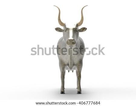 3D illustration of the cow, on white background isolated, with shadow, metal cracked, scratched - stock photo