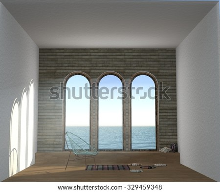 3D illustration of the dream room with three big panorama windows, sea view, chair, pillows, carpet and wood floor