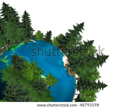 3D Illustration of the Earth globe covered with green trees growing out of it Isolated on white background