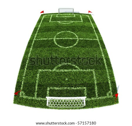 3d illustration of the football field isolated on white background - stock photo
