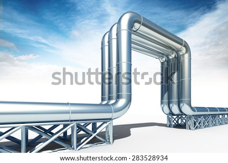 3d illustration of the high pressure oil ang gas pipeline isolated on white background - stock photo