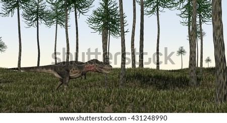 3d illustration of the hunting tarbosaurus  - stock photo