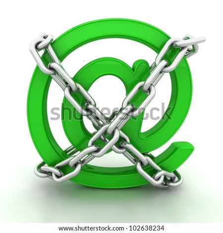 3D illustration of the image of a Green metallic AT symbol chains isolated on white. - stock photo