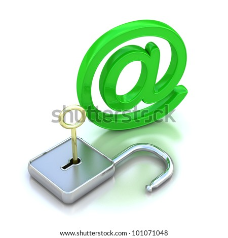 3D illustration of the image of a  Green metallic AT symbol open isolated on white. - stock photo