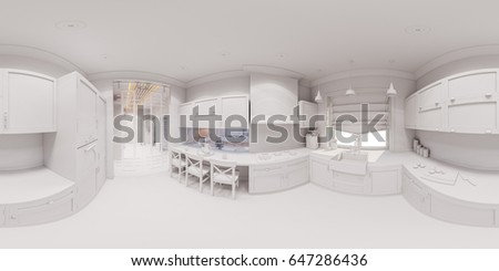 3d Illustration Of The Kitchen Interior Design In Scandinavian Classical  Style. Interior Without Textures And
