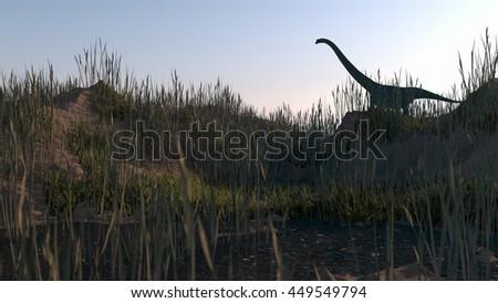 3d illustration of the mamenchisaurus standing on hill - stock photo
