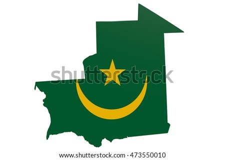 3D illustration of the map of Mauritania in the colors of the national flag