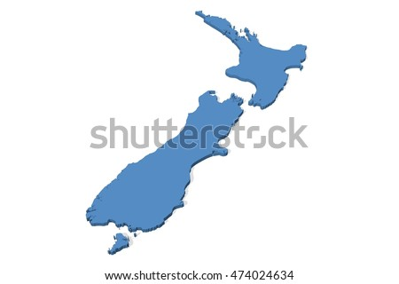 3D illustration of the map of New Zealand on a plain background