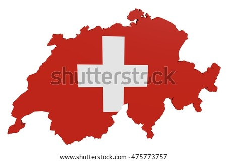 3D illustration of the map of Switzerland in the colors of the national flag