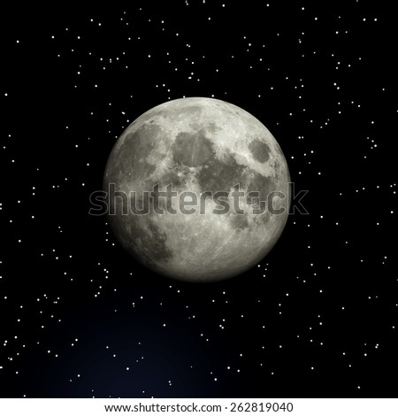 3D Illustration of the Moon - stock photo