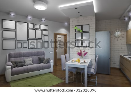 3D illustration of the one-room apartment - stock photo