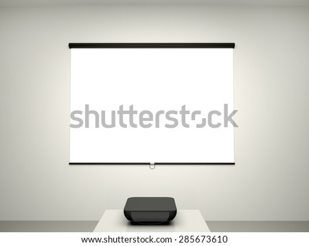 3D illustration of the presentation screen and a projector for c - stock photo