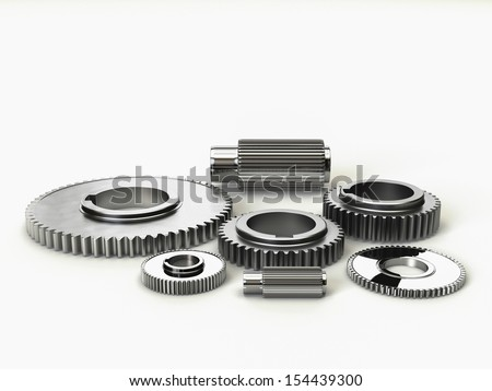 3D Illustration of the rendered industry steel gears