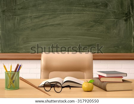 3d illustration of the teacher's Desk in front of a green Board - stock photo