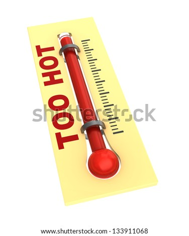 3d illustration of thermometer with hot temperature - stock photo