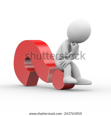 3d illustration of thinking man sitting on question mark.  3d rendering of human people character - stock photo