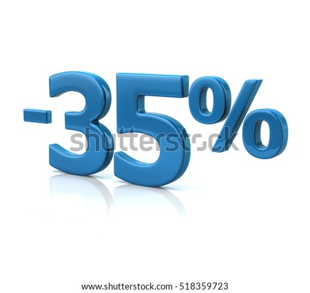 3d illustration of thirty-five percent discount in blue letters on white background