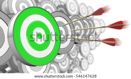 3d illustration of three arrows motion with green target over many targets background