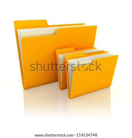 3d illustration of three folders with paper, over white background - stock photo