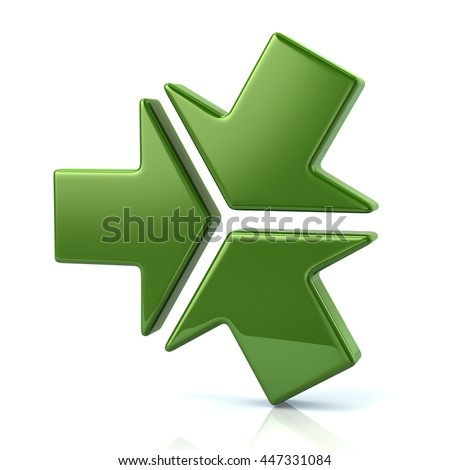 3d illustration of three green arrows isolated on white background - stock photo