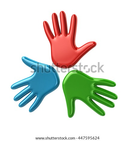 3d illustration of three hands isolated on white background - stock photo