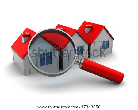 3d illustration of three houses and magnify glass, search for home concept - stock photo