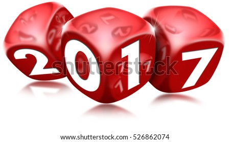 3D illustration of three red dice with the written 2017 and reflections