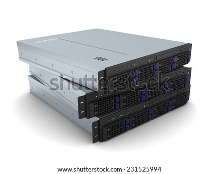 3d illustration of three servers over white background - stock photo