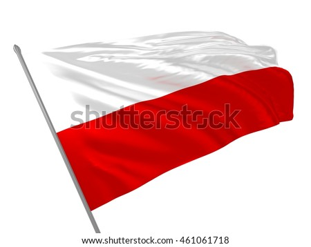 3d illustration of Thuringia Free State flag in Germany waving in the wind