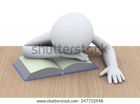 3d illustration of tired student sleeping over book at the table. 3d rendering of people - human character - stock photo