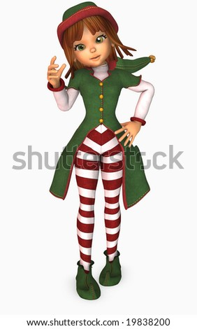 3d illustration of toon girl dressed as an elf for christmas - stock photo