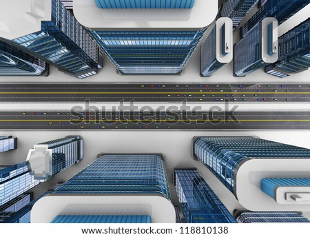 3d illustration of top view of city with roads and cars traffic - stock photo