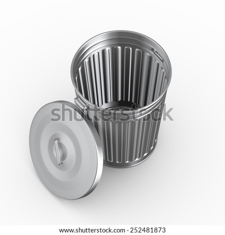 3d of topview of an empty steel shiny metal trash can bin with cover