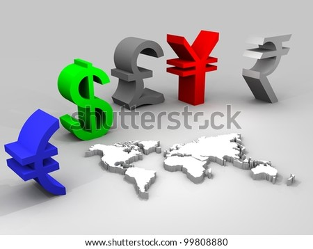 3d illustration of trade currencies worldwide - stock photo