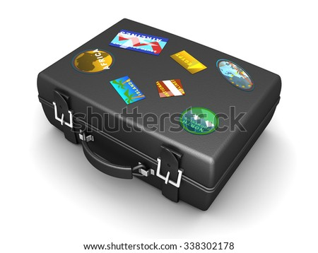 3d illustration of travel luggage over white background