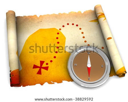 3d illustration of treasure map scroll and compass over white background - stock photo