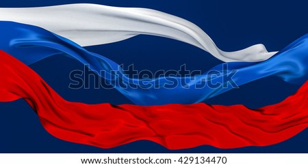3D Illustration of TriColor Cut Ribbons Waving on dark blue - stock photo