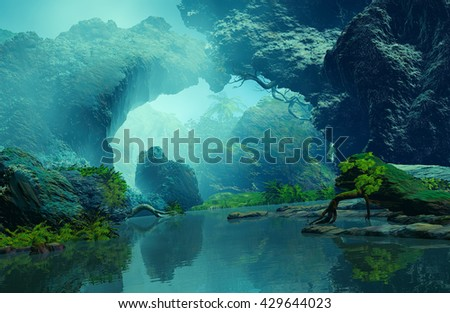 3D Illustration of tropical landscape where it is observed large rocks, vegetation on a lake in a very cloudy atmosphere.
