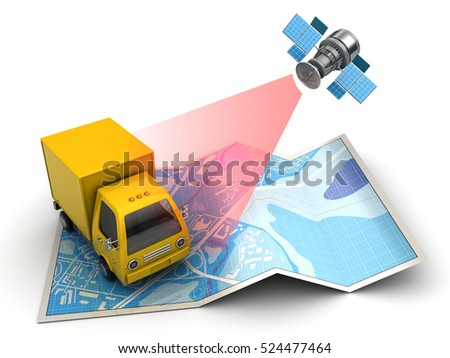 3d illustration of truck tracking with satellite, over map background