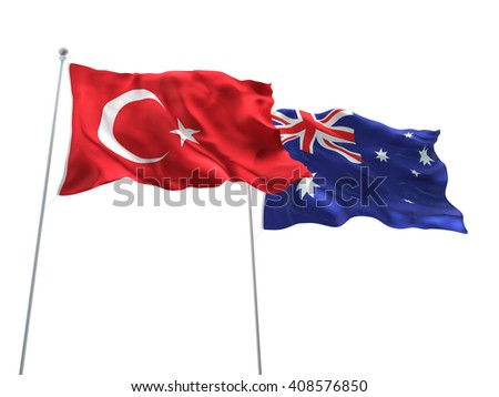 3D illustration of Turkey & Australia Flags are waving on the isolated white background - stock photo