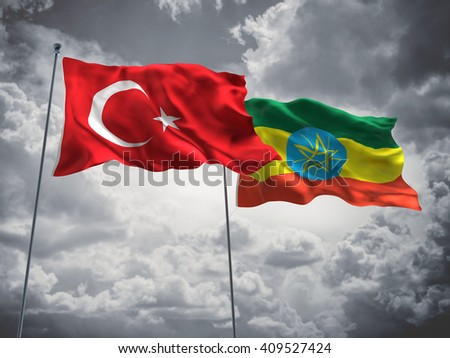 3D illustration of Turkey & Ethiopia Flags are waving in the sky with dark clouds  - stock photo