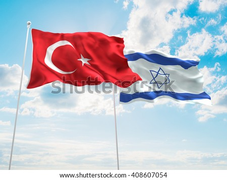 3D illustration of Turkey & Israel Flags are waving in the sky - stock photo