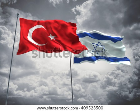 3D illustration of Turkey & Israel Flags are waving in the sky with dark clouds  - stock photo