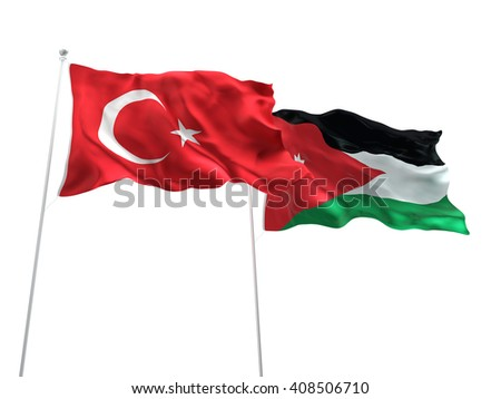 3D illustration of Turkey & Jordan Flags are waving on the isolated white background - stock photo