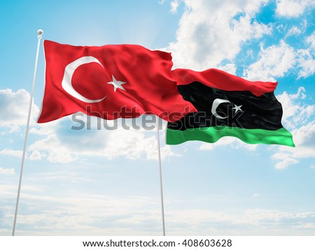 3D illustration of Turkey & Libya Flags are waving in the sky - stock photo