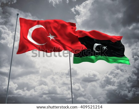 3D illustration of Turkey & Libya Flags are waving in the sky with dark clouds  - stock photo