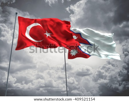 3D illustration of Turkey & Nepal Flags are waving in the sky with dark clouds  - stock photo
