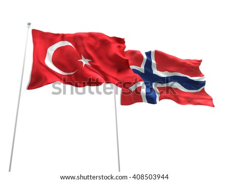 3D illustration of Turkey & Norway Flags are waving on the isolated white background - stock photo