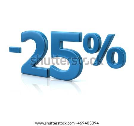 3d illustration of twenty-five percent discount in blue letters on white background