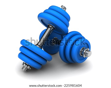 3d illustration of two blue dumbells over white background - stock photo